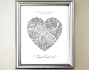 Charleston Heart Map - West Virginia