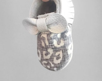 Light Grey + White Cheetah Mocs