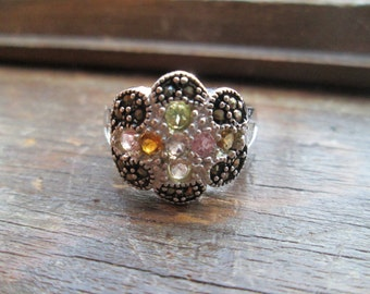 Art Deco 1.20ctw  Multi Color Genuine Topaz & Marcasite Cluster Sterling Silver Ring Sz 7.75, Wt. 8.1g