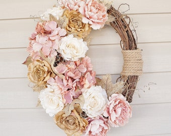Oval Door Wreath, Floral Wreath, Woodland Wreath, Burlap Hydrangeas and Roses and Roping, Door Wreath, Home Decor
