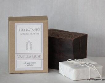 VANILLA MUSK - Bee's Botanics Handmade Soap - 100% Natural & Vegan - Cold Process - 4 ounce bar