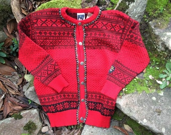 Dale of Norway, Norwegian wool cardigan ski sweater-Size S