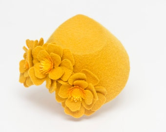 Golden Fez fascinator hat wedding bride bridal ascot races goodwood mustard golden yellow vintage unique boho