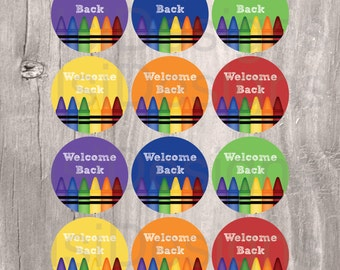 Back to School Printable Favor Tags,  Crayons Favor Tags, Instant Download, Welcome Back Crayons Cupcake Toppers, First day of School