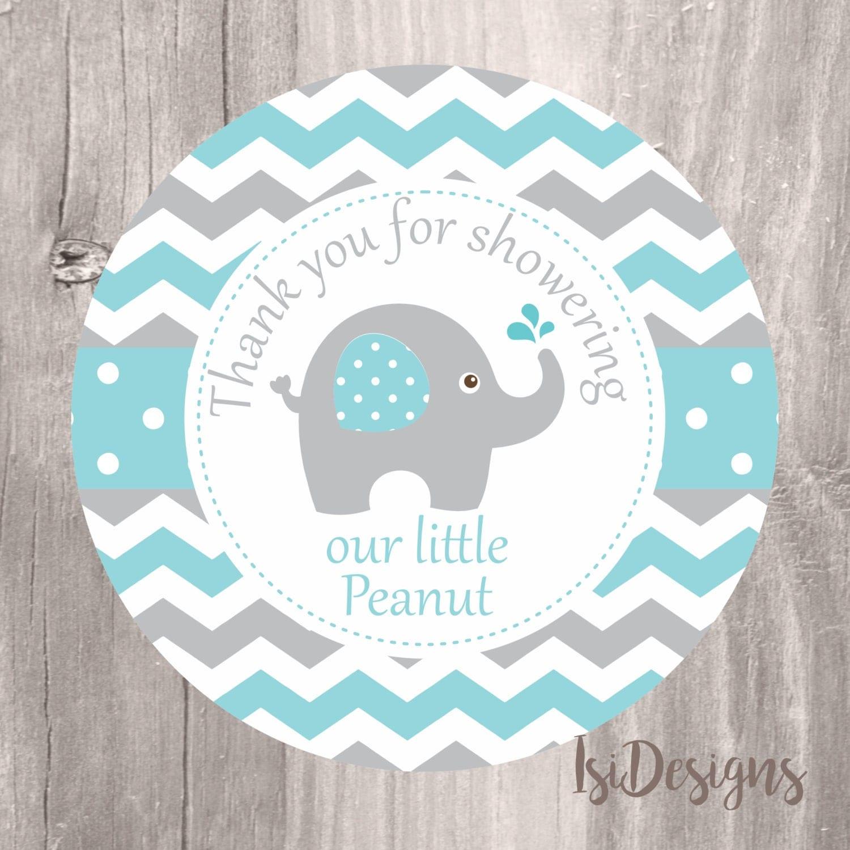 Elephant Baby Shower Favor Tags Printable Aqua and Grey Shower