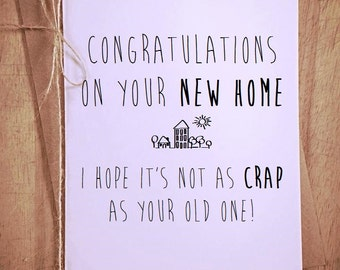 New Home blank greeting Card funny novelty congratulations moving house
