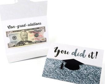 Graduation Party Money Holder Cards - Graduation Cards - Tassel Worth The Hassle - Silver - Graduation Money Holder - Set of 8