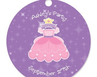 Princess Personalized Party Tags - Baby Shower or Birthday Party DIY Craft Supplies- 20 Count