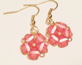 Peachy-Pink Flower Earrings