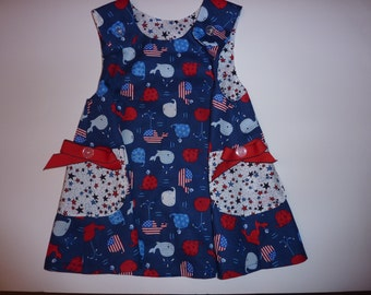 Patriotic Whales on Girls' Summer Dress