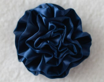 "3"" Cabbage Flower Heads, Wholesale Satin Flowers for Flower Head Bands, Lot of 1, 2, 5 or 10, Navy Blue"