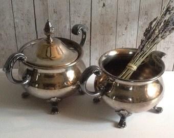 Vintage Silver Creamer and Sugar Bowl, Creamer, Coffee Set, Wedding Gift