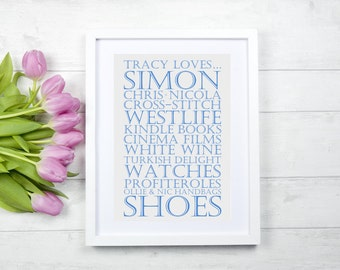"Personalised Typography Frame - ""Likes"" style"