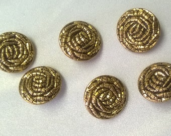 "New 25 mm Gold Metal Shank Buttons 1"" - 6 pieces"