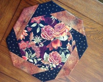 Table Topper, Octagonal, Floral, Rust, Elegant, Rust and Black Border,  Metallic Gold