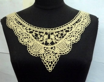 1 pc Black /  Chamois /  Beige - Cotton Crochet Neckline Collar Lace Patch Motif Appliques Need Sewing A183
