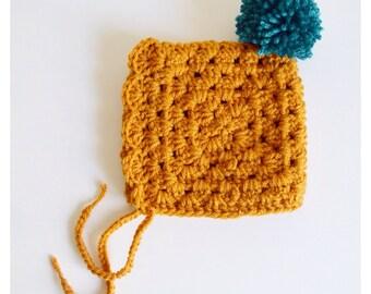 Crochet Baby Bonnet, Vintage Baby Bonnet, Newborn Hat, Handmade Hat, Crochet Hat, Baby Hat, Mustard Hat, Mustard Bonnet, Newborn Bonnet