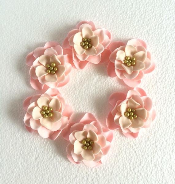 Fondant Flowers For Wedding Cakes: Fondant Flowers 12pcs Vintage Pink Cream Gold By