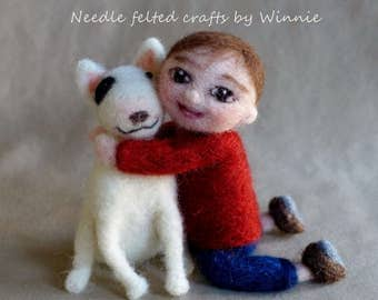 Needle felted boy and his bull terrier/dog/puppy handmade OOAK doll