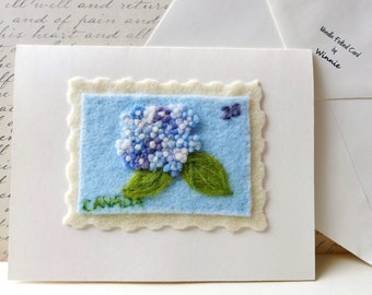 Across the miles Needle felted card- Hydrangea Canadian stamp handmade OOAK wool art