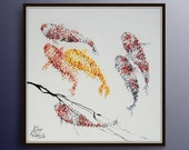 "Painting 40"" Koi fish for Luck - Feng shui painting, Modern style, luxury looks, thick layers, Express shipping worldwide, by Koby Feldmos"