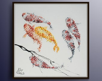 "Painting 35"" Koi fish for Luck - Feng shui painting, Modern, luxury looks, thick layers, Express shipping worldwide, by Koby Feldmos"