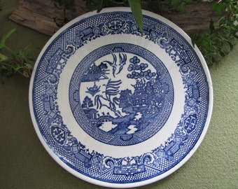 Blue Willow Ware Plate Unique Design Home Decor Blue and White Decorative Plate Wall Hanging Rustic Farmhouse Serving Tray