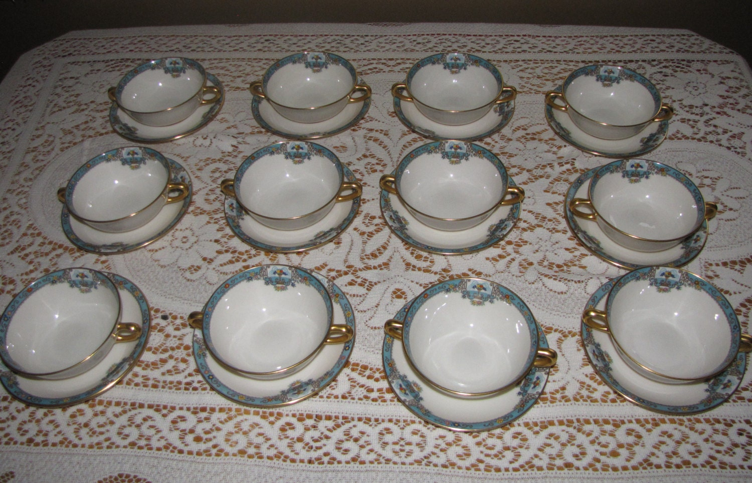 Lenox Fountain Soup Bowls And Underplate 1926 Vintage Art
