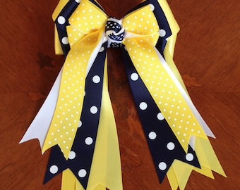Equestrian bows for horse shows/yellow, navy blue, white/beautiful equestrian clothing/Ready2Mail