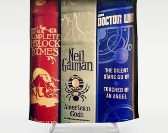 Library of Sherlock, Neil Gaiman and Doctor Who Shower Curtain: bathroom, home decor, fabric, fantasy, science fiction, mystery, detective