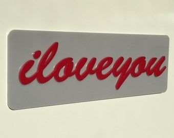 I LOVE YOU Wall Art Sign. Love. Word Art. Love Sign. Made in the UK.