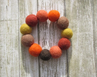 Handmade felt ball bracelet, bangle, autumn colours, nature, natural,