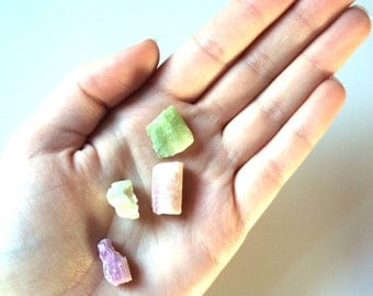 Green and pink tourmaline 4 peices small crystals