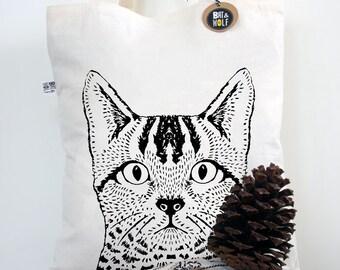 Screen Printed Cat Book/Tote Bag