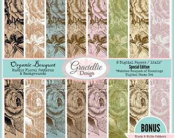 Organic Bouquet - Digital Paper Pack