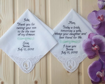 Set of 2 !  Personalised wedding handkerchief for mother and mother in law!!  Custom embroidered wedding hankie ! Monogram corner initial !