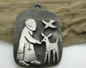 Rustic St. Francis Medallion or Pendant, Vintage Pendant, 25x20 (1)