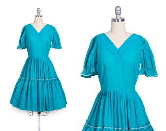 Vintage 1950s Cotton Dress // Vintage 50s dress // 50s day dress // 50s turquoise dress