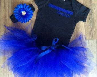 Thin Blue Line Bodysuit- Sparkle/Tutu/Headband Set