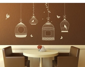 Summer Sale - 20% OFF Bird Cage floral wall decal, sticker, mural, vinyl wall art