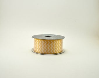Wreath Ribbon, Cheap Ribbon, Wreath Supplies, Yellow Ribbon, Chevron Striped Ribbon, Hairbow Ribbon