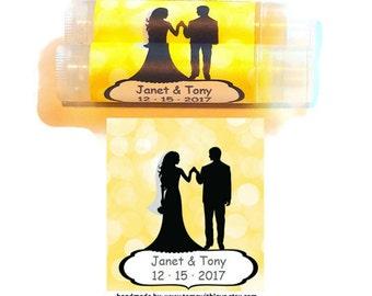 20 Lip balm favors, chapstick wedding favor, chapstick favor, wedding couple on label, wedding favor lipbalm, wedding favor chapstick