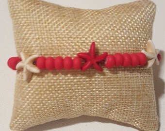 Red and White Starfish Sea Star Stretch Bracelet, Canadian Pride,  beachy jewellery, simple jewelry, Sea Themed bracelet, Canadian Flag.