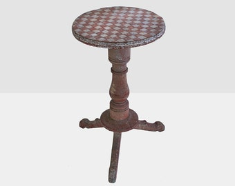 antique game table, antique checkered table, antique inlaid side table, antique  table, checker board table, folk art table, primitive table