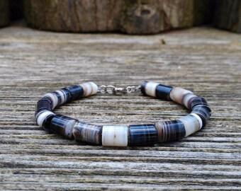 Mens Bracelet natural Sardonyx. Modern Bracelet/Genuine Gemstone/Designer Bracelet/Healing Stones/Men jewelry/Men Bracelet/Black Bracelet.
