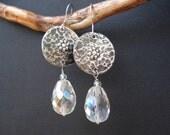 Handmade Silver Metalwork Earrings-Swarovski Faceted  Beads Earrings-Antique Faced Earrings-Unique Greek Earrings-Sterling Silver Hooks