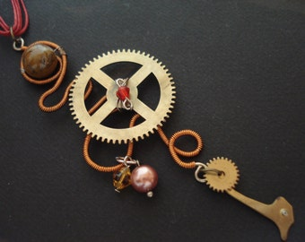 Unique Steampunk Necklace Cuckoo Clock Parts Tiger eye Bead Modern Red Wax Cord with Sliding Knots Necklace Wirewrapped Necklace