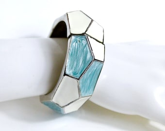 Clamper Bangle. Turquoise and white geometric mosaic clamper cuff bangle. 1960s Vintage