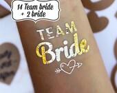 Temporary Tattoos - Gold Tattoos - Bachelorette Favors - Bachelorette Party - Bride Tattoos - Team Bride Tattoos - Bride Tattoos - Hen Party