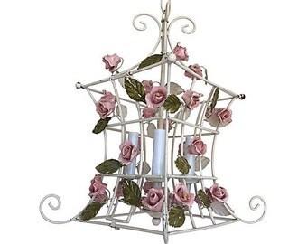 1950s Italian Porcelain Roses Chandelier
